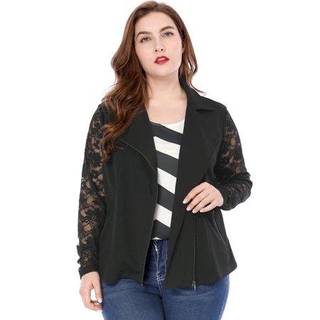 Agnes Orinda Women Plus Size Lace Sleeves Panel Zip Closure Moto Jacket Black 1X - image 6 of 6