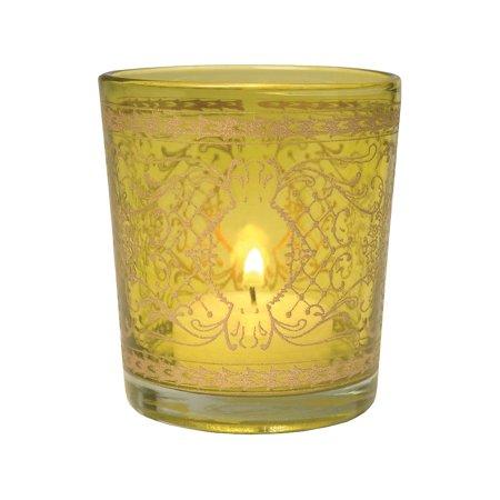Glass Candle Holder (3.5-Inch, Sarah Design, Chartreuse Green, Scrolling Gilded Accents) - For Use with Tea Lights - For Parties, Weddings, and Homes (Used Wedding Items)