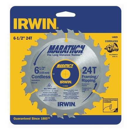 IRWIN 14029 Saw Blade, Steel, 6-1/2in, 24Teeth