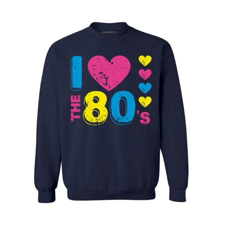 Awkward Styles I Love The 80's Sweatshirt 80's Sweater for Men and Women 80's Party Sweatshirt Gifts for 80's Lovers Funny 80's Party Costumes for Men and Women I Love The 80's Unisex Clothes (Funny Costumes Men)
