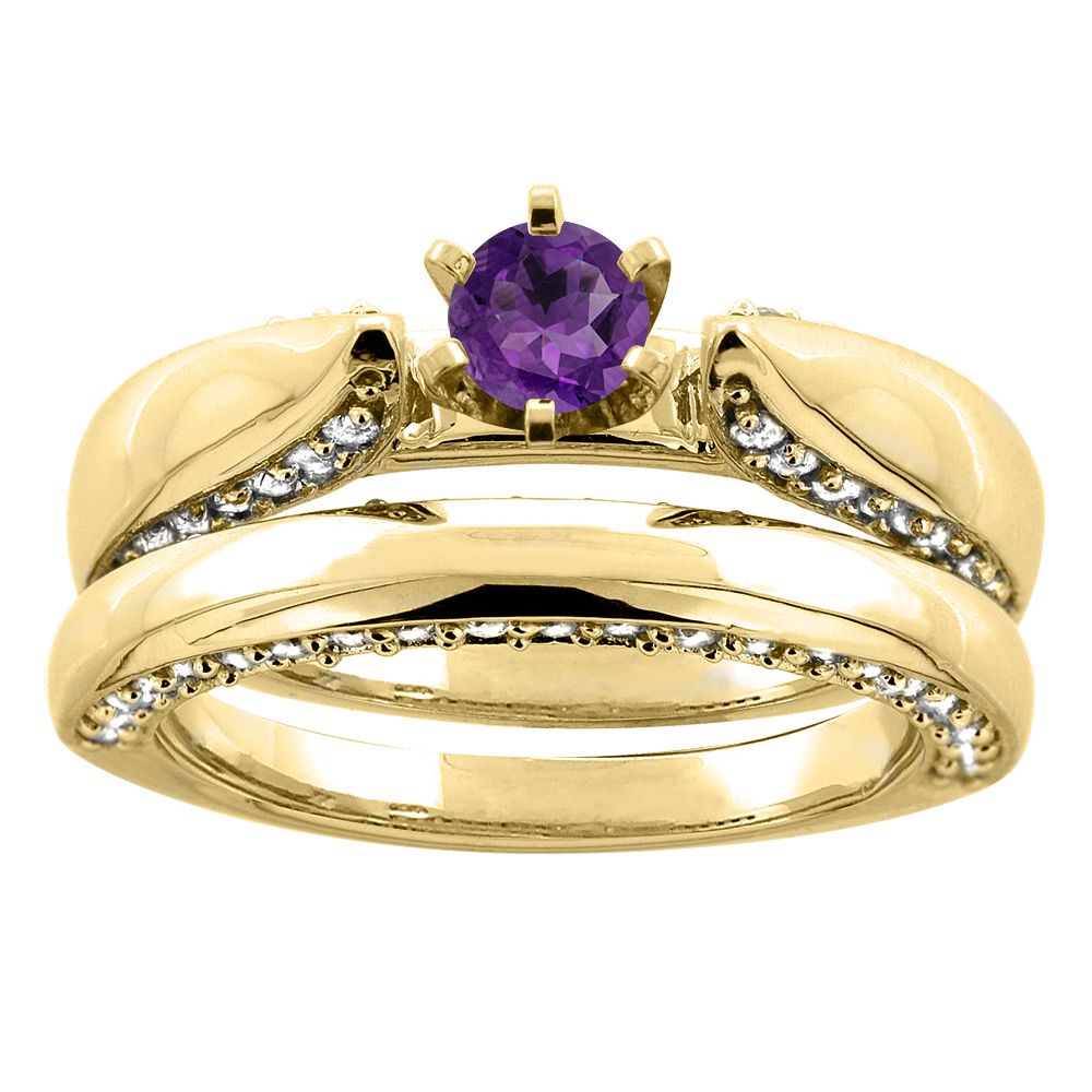 10K Yellow Gold Natural Amethyst 2-piece Bridal Ring Set Diamond Accents Round 5mm, size 8 by Gabriella Gold