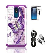 Phone Case for Straight Talk LG Journey Smartphone / LG Journey /LG Arena 2 / LG Escape Plus, Crystal Bling Shock-Resistant Cover Case [Tempered Glass]+ Charging Cable (White Purple Butterfly)