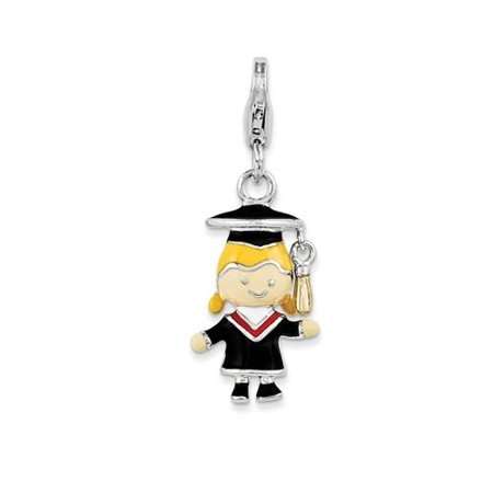 Sterling Silver Enamel Grad Girl with Lobster Clasp Charm