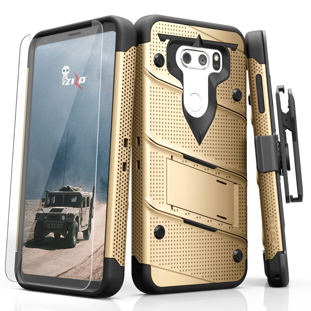 Zizo BOLT Series compatible with LG V30 Case Military Grade Drop Tested with Tempered Glass Screen Protector, Holster LG V35 ThinQ Case