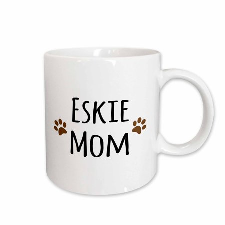3dRose Eskie Mom - American Eskimo Dog breed pet owner - brown paw prints - doggie daddy doggy love- lovers - Ceramic Mug, 15-ounce