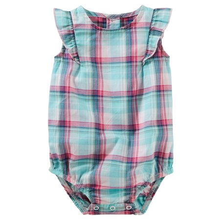 OshKosh B'gosh Baby Girls' Plaid Poplin Bodysuit, 9 Months](Plaid Onesie)