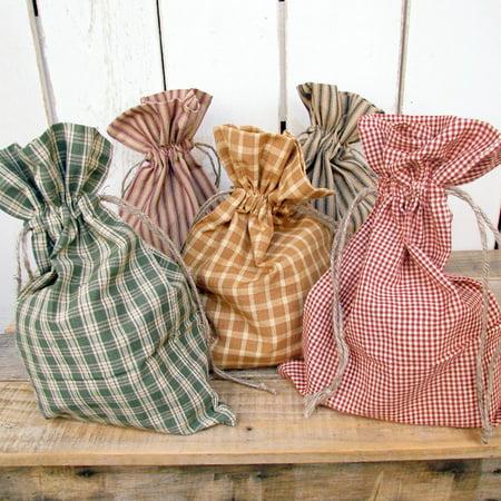 Set of 5 Homespun Plaid Fabric Christmas Gift Bag 8 x 12 by Jubilee ...
