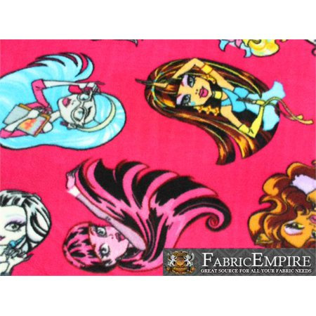 """Fleece Printed Fabric MONSTER HIGH POSES PINK / 58"""" Wide / Sold by the yard S-614"""
