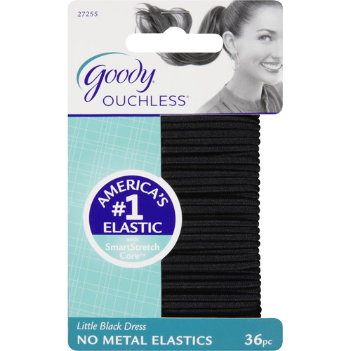 Goody Ouchless No Metal Hair Elastics, Little Black Dress 27255, 36 count