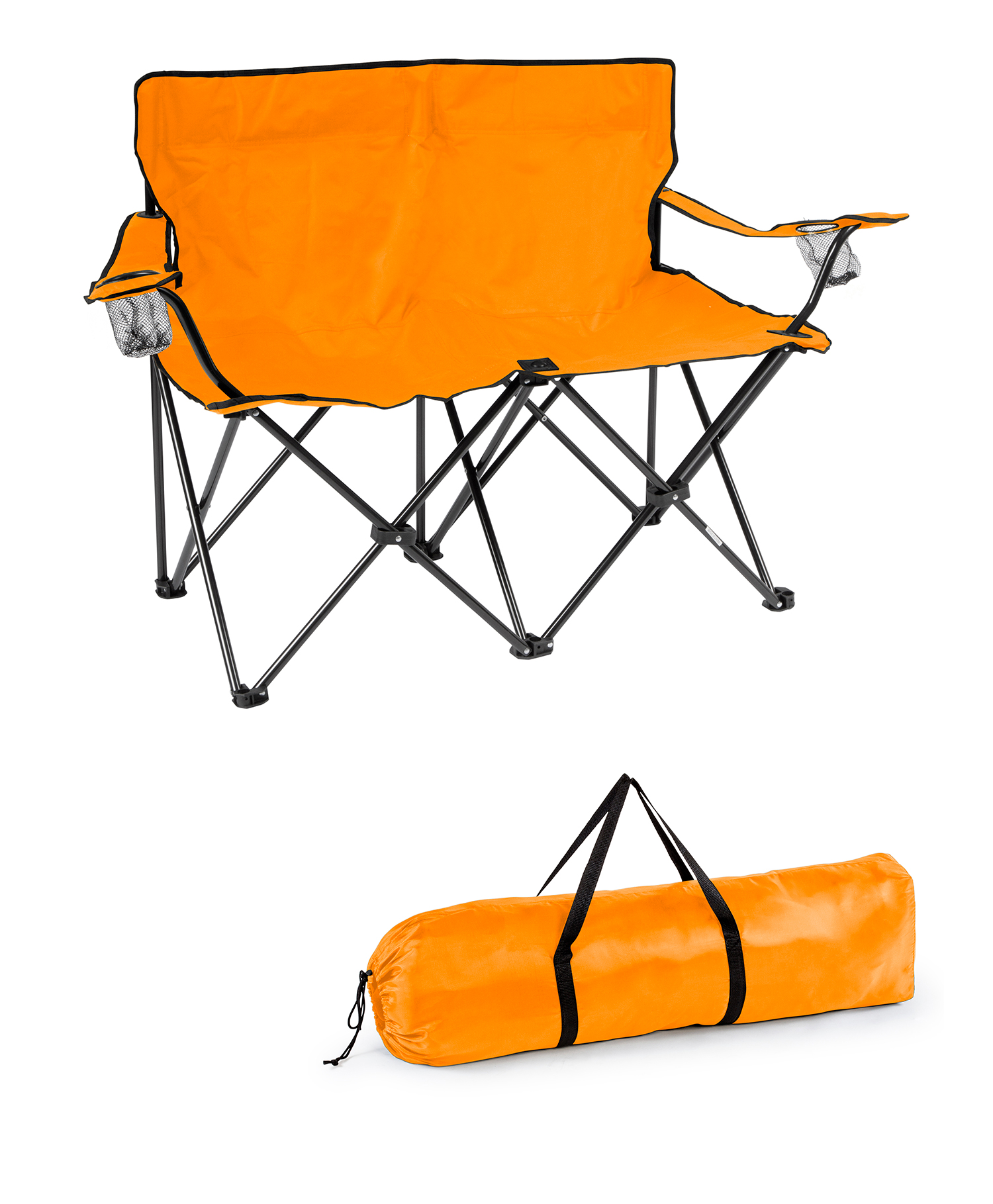 Loveseat Style Double Camp Chair with Steel Frame by Trademark Innovations (Orange,... by Trademark Innovations