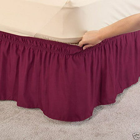 wrap around dust ruffle cotton blend bed skirt 14 inch drop queen king size burgundy. Black Bedroom Furniture Sets. Home Design Ideas