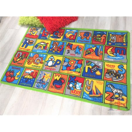 Handcraft Rugs Back to School Educational Puzzle Kids Area Rugs. Gel Back/Non Slip. (3 ft. By 5 ft.) (School Rugs)
