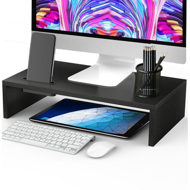 PERLESMITH 16.5 Inch Monitor Desk Organizer Stand for Laptop Computer with Phone Holder, Versatile as Storage Shelf & Screen Holder
