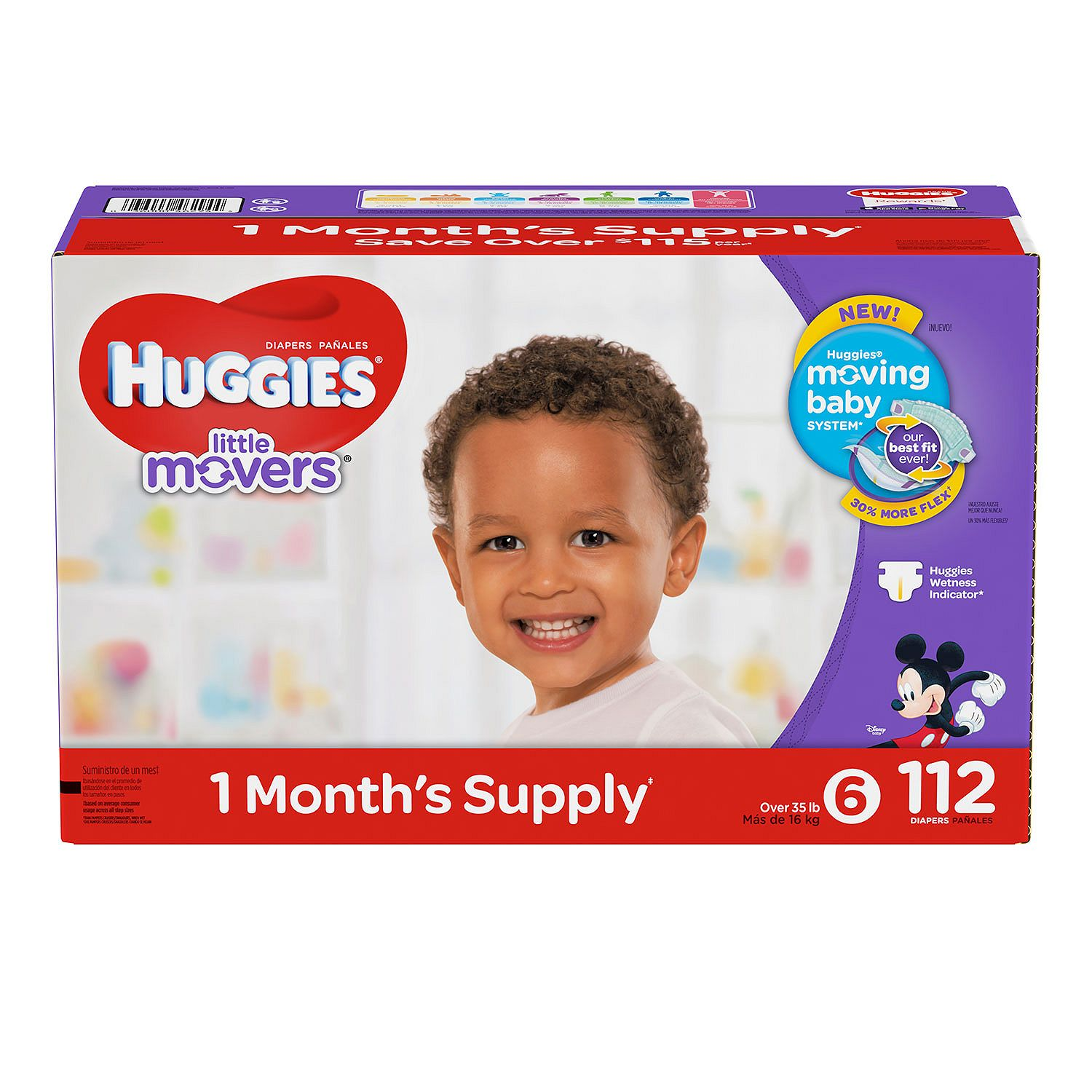 Huggies Little Movers Diapers Size 6 - 112 ct. ( Weight Over 35 lbs.) - Bulk Qty, Free Shipping - Comfortable, Soft, No leaking & Good nite Diapers