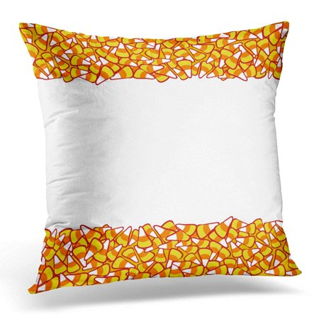 ARHOME Colorful Abstract Candy Corn Double Border White Halloween Sketchy October 31 Design for Party Orange Pillow Case Pillow Cover 20x20 inch - Halloween Party October 31