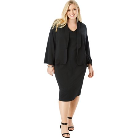 d0561e2c6f1f Roaman's - Roaman's Plus Size Ultimate Ponte Jacket Dress With Bell Sleeves  - Walmart.com