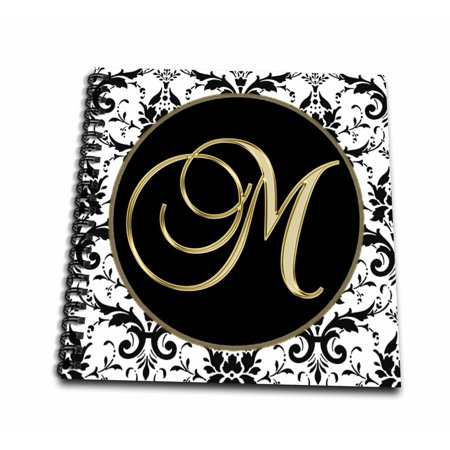 3dRose Image of The Script Letter M in Black White and Gold - Mini Notepad, 4 by (Gold Notepad)