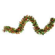 12' Green, Red and Metallic Gold Wide Cut Christmas Tinsel Garland