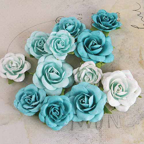 "Prima Marketing Interlude Handmade Paper Flowers With Glitter, 1"" To 1-3/4"", 12pk"
