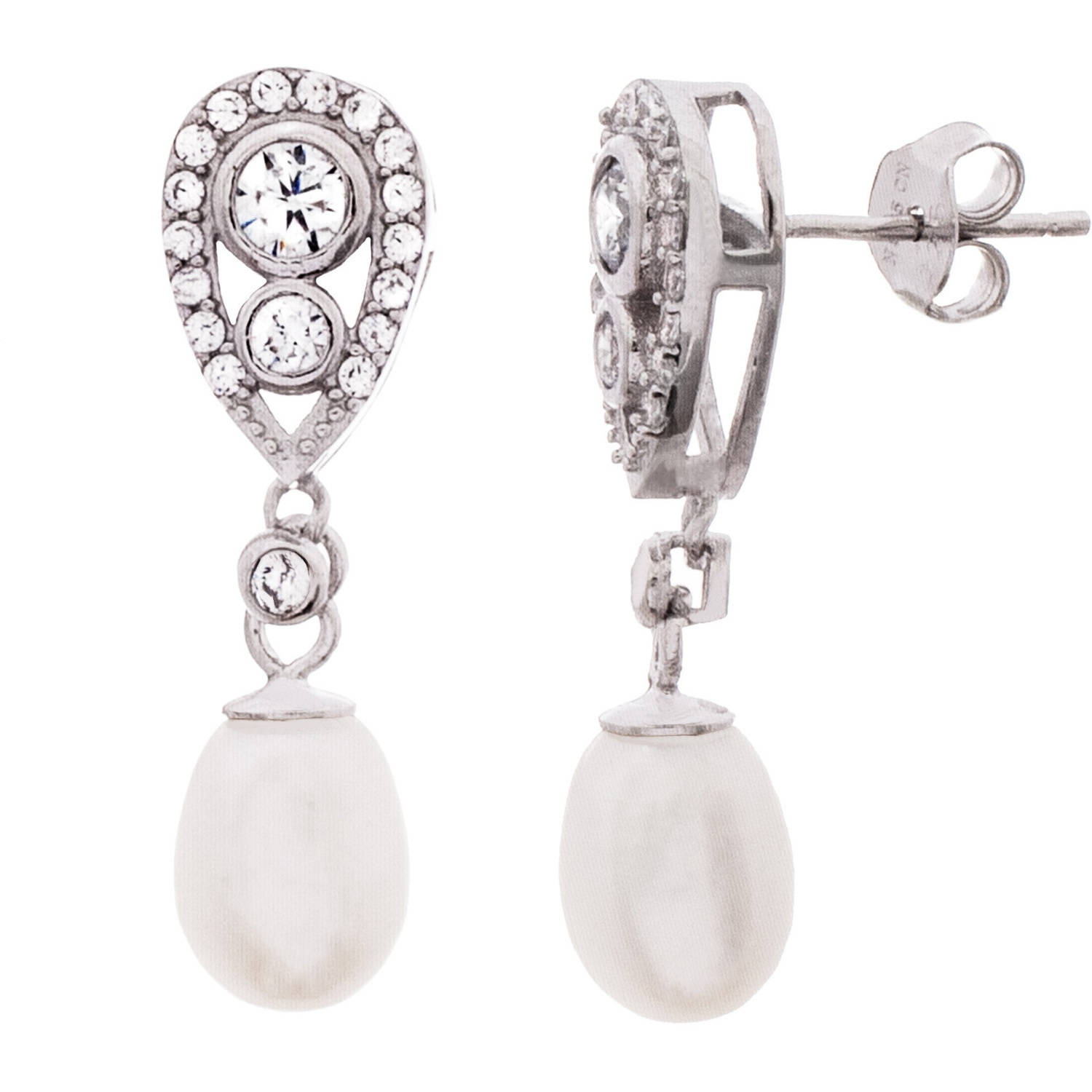 Angelique Silver CZ and Dangling Fresh Water Pearl 18kt White Gold over Sterling Silver Bezel Teardrop Earrings
