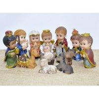 Small Christmas Nativity Set Scene Cartoon Figures Figurines Baby Jesus - 12 PIECE SET