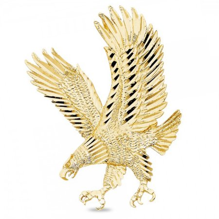 - Solid 14k Yellow Gold Large Eagle Pendant Diamond Cut Charm Hip Hop Style Mens 62 x 43 mm