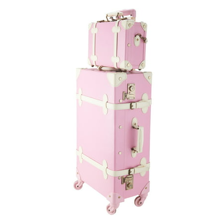 Premium PU Vintage Classic Old-Fashioned Trolley Suitcase and Hand Bag Set with TSA Locks Essential Luggage