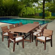 Gerald 11-Piece Eucalyptus Extendable Patio Dining Set, Off-White/Beige Striped Cushions