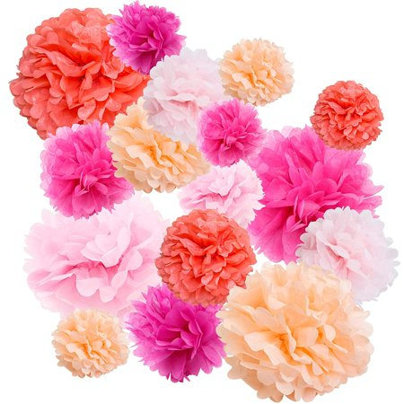 Floral Reef Paper Pom Poms Balls Birthdays Wedding Party Decoration Pinkish Red - 16 pk for $<!---->