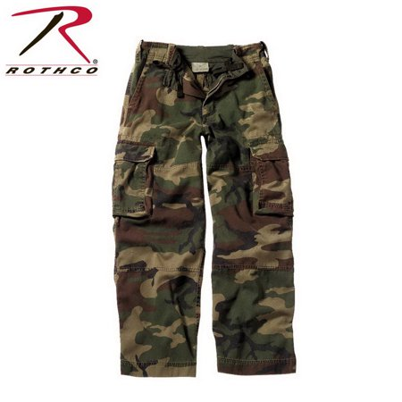 Boys Camouflage Pants (Boys Woodland Camo Vintage Paratrooper Cargo Pants)