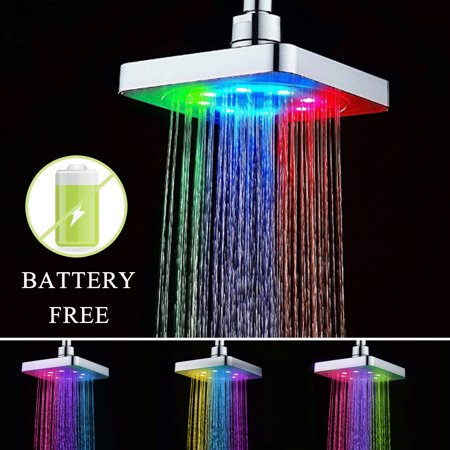 7 Colors Automatic Changing Bathroom Home LED Water Glow Light Colorful Stainless Shower Head](Led Glow Rings)