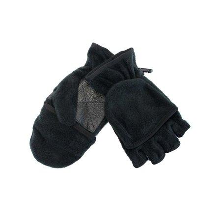 Black Fingerless Gloves With Convertible Fleece - Studded Black Gloves