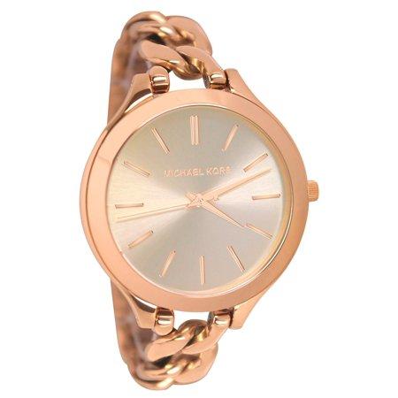 Women's Slim Runway Twist 42mm Rose Gold-Tone Steel Bracelet & Case Quartz Watch -