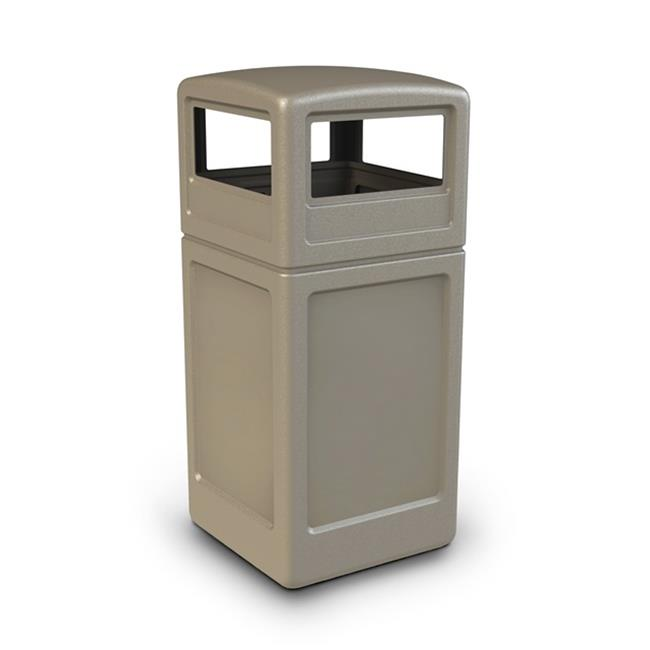 Commercial Zone Products 73290299 42-gallon Square Waste container with Dome Lid  Beige