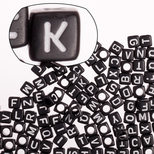 Opaque Black Mix Alphabet Acrylic Cube Beads 6mm