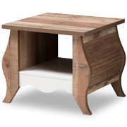 Baxton Studio Raynell Serpentine End Table in White and Oak