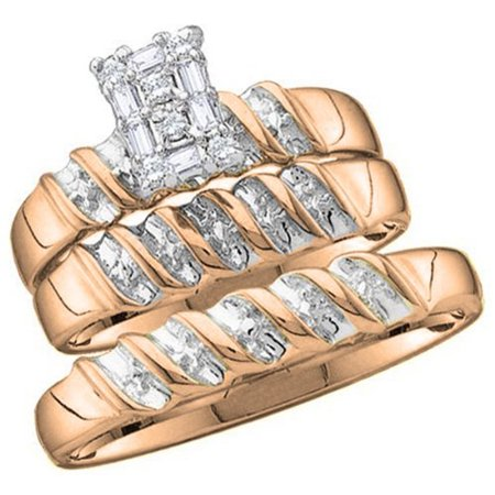 0.05 Carat (ctw) 14K Gold Round Diamond Men & Ladies Trio Set 14k Diamond Trio Set