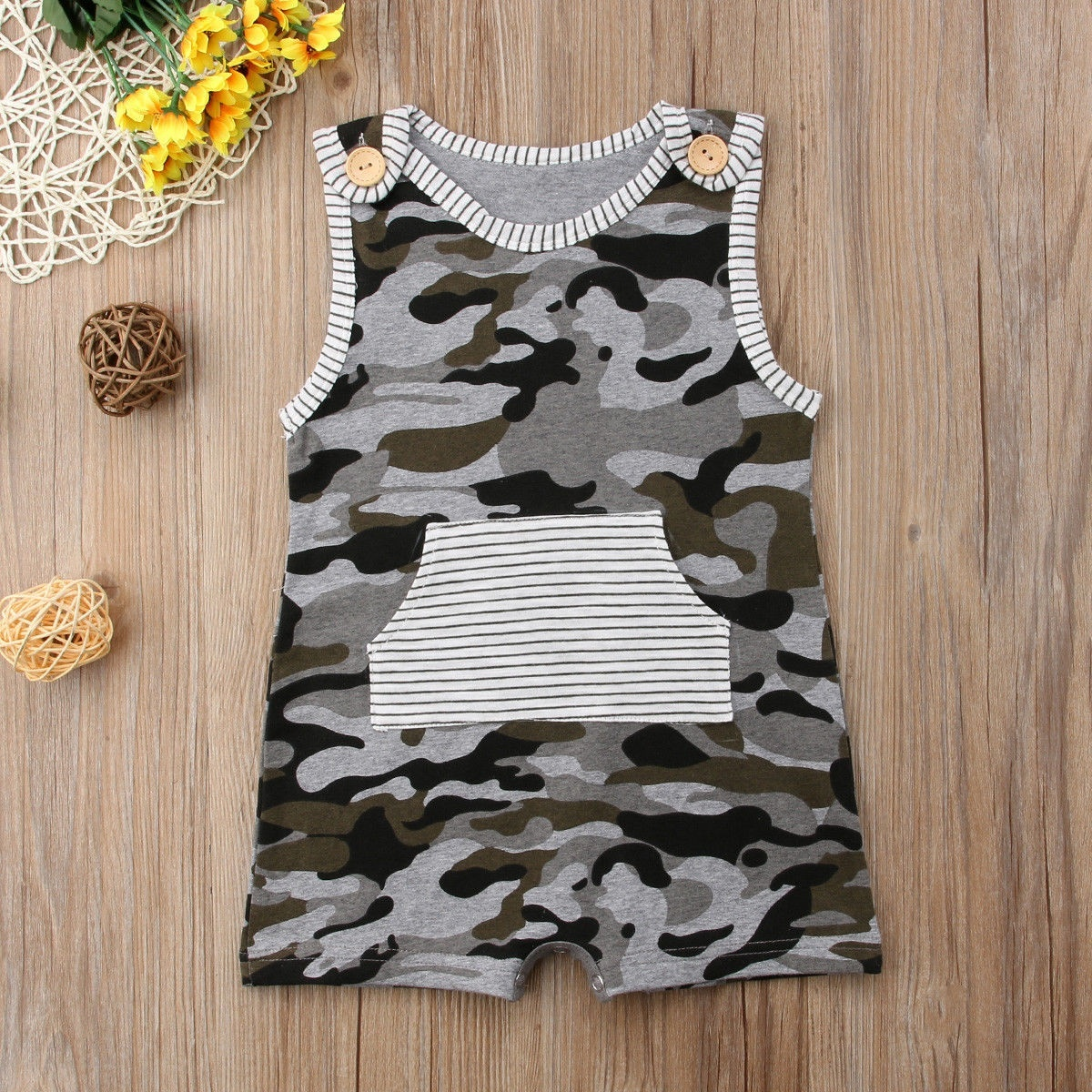 US Newborn Kid Baby Boy Camouflage Clothes Romper Overalls Summer Cotton Outfit