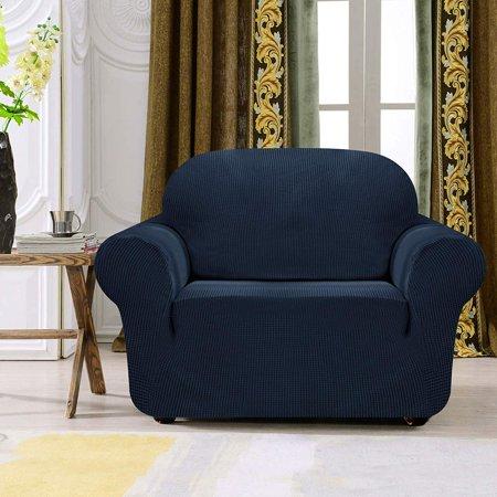 Subrtex 1-Piece Spandex Stretch Sofa Slipcover (Chair, Navy)
