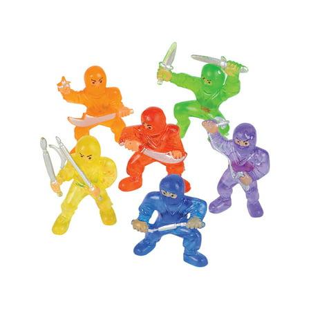 12 Count Miniature Plastic Toy Ninja Figures Figurines Costume - Plastic Ninjas