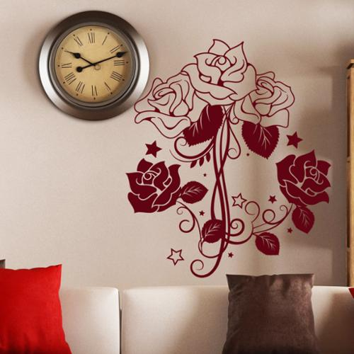 Stickalz llc Wall Decal Flower Roses Design Decals for Florists Bedroom Bathroom Vinyl Stickers Decor Red