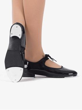 "Girls ""Tap Star"" Ribbon Tie Elastic Tap Shoes"