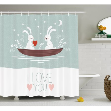 I Love You Shower Curtain Rabbit Couple Sailing On Boat In The Lake Bunny Partners Kids
