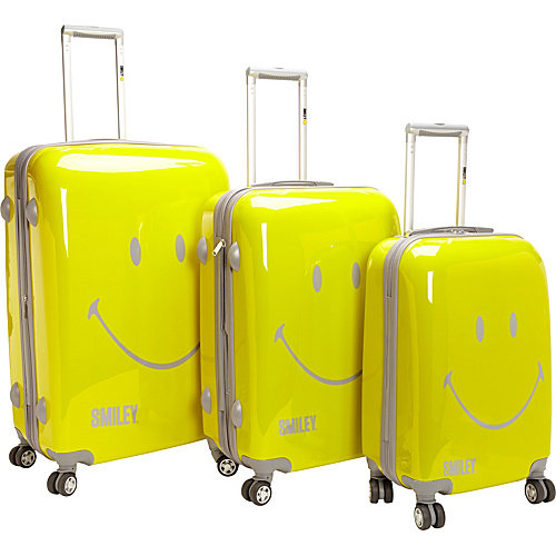 pb travel Smiley Face 3PC Spinner Luggage Set