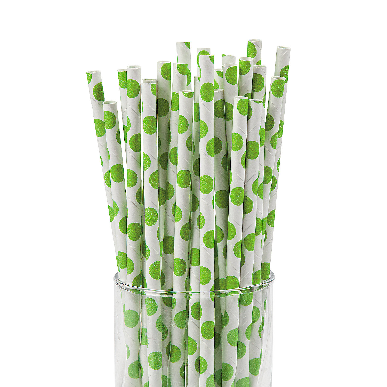 IN-13623088 Lime Green Polka Dot Paper Straws 24 Piece(s)
