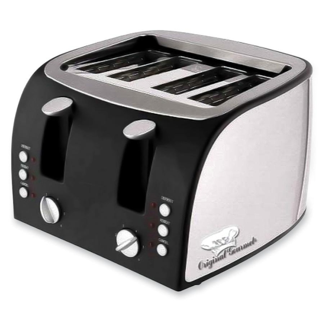 Original Gourmet Adjustable Slots 4-Slice Toaster - Toast, Reheat, Defrost, Bagel -