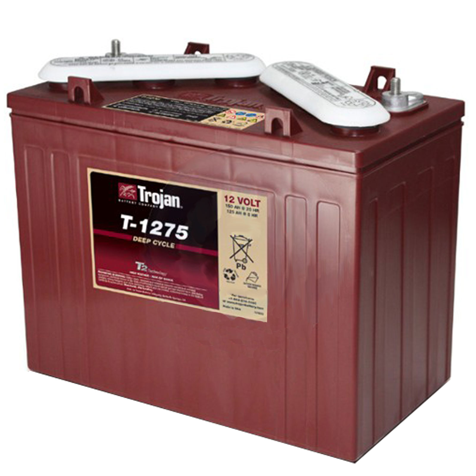 Trojan T-1275 12V 150Ah Deep Cycle Flooded Lead Acid Golf Cart Battery