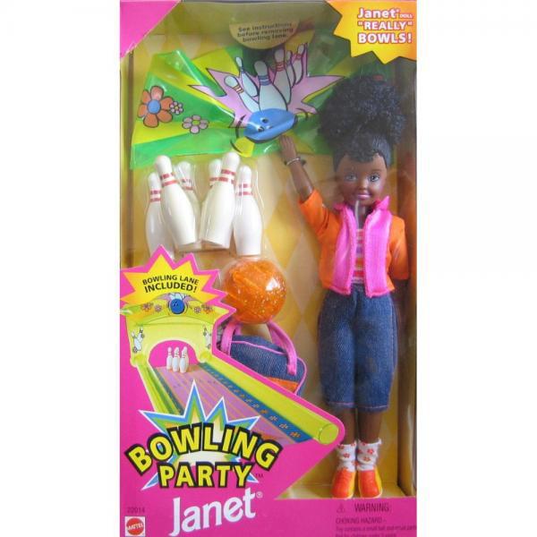 Mattel Barbie Bowling Party JANET Doll AA w Bowling Pins,...