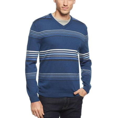 Merino Wool Blend Crewneck Sweater XX-Large Pullover Blue Stripes