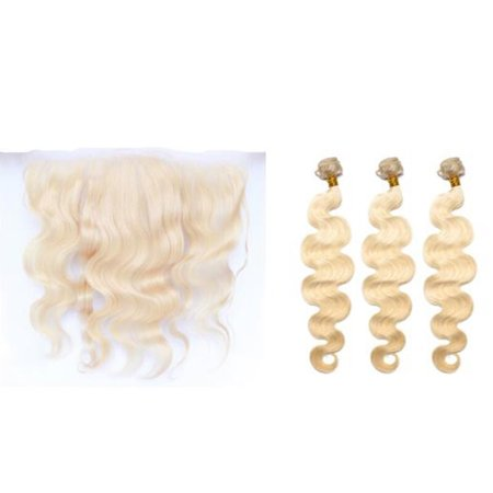 - Dolago 3 Bundles Brazilian 613 Blonde Body Wave Hair with Lace Frontal 13x4 Ear To Ear 10